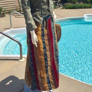 BoHo hippie denim & cords patchwork maxi skirt Lg